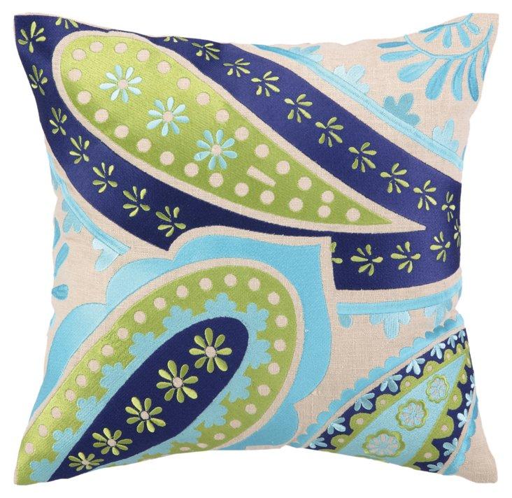 Skyler 16x16 Linen Pillow, Blue