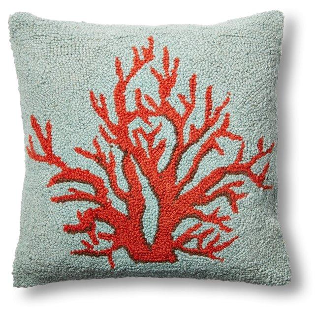 Coral 16x16 Wool Pillow, Orange