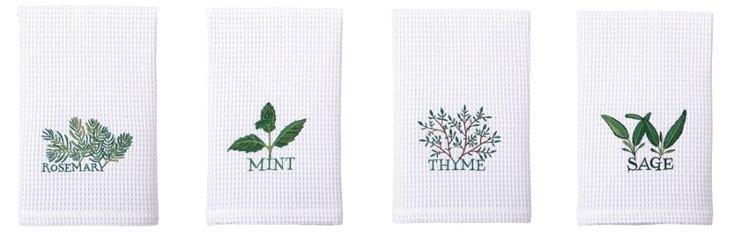 S/4 Kitchen Towels, Herbs