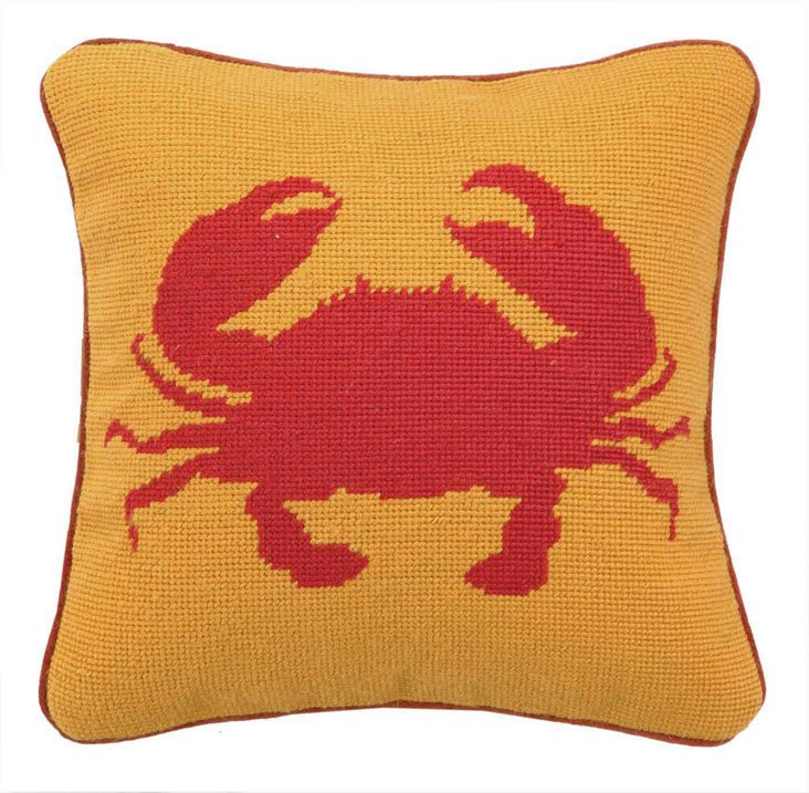 Red Crab 12x12 Wool Pillow, Orange