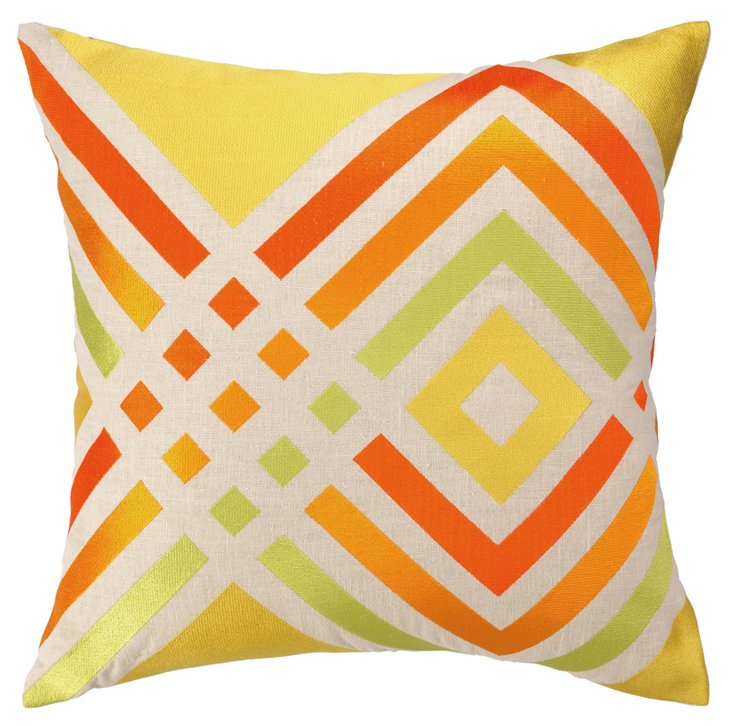 Geo 20x20 Embroidered Pillow, Yellow