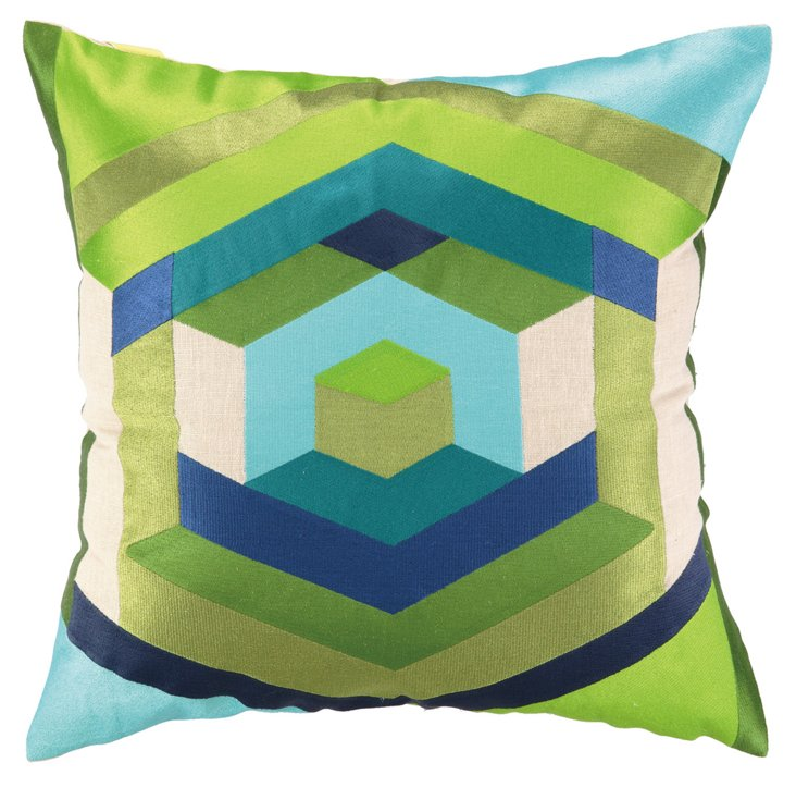 Modern 20x20 Embroidered Pillow, Multi