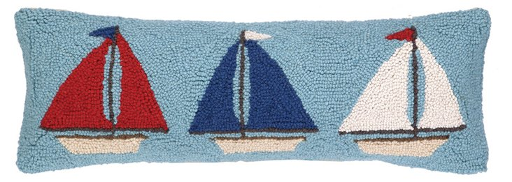 Sailboats 11x24 Cotton Pillow, Blue