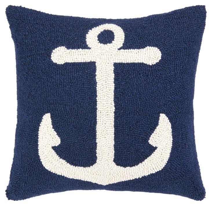Anchor 16x16 Cotton Pillow, Blue