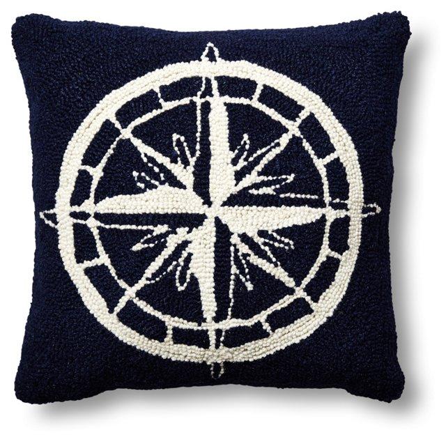 Compass 16x16 Wool Pillow, Navy