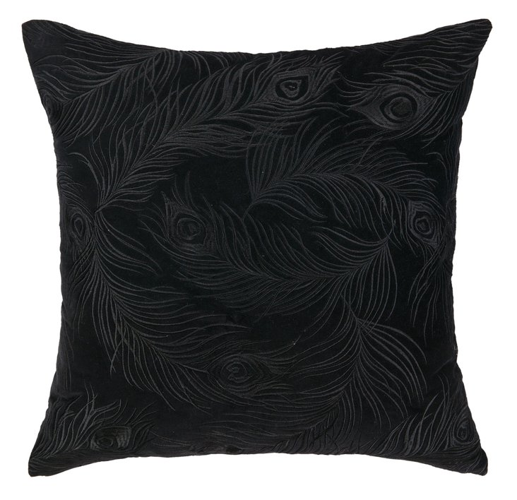 Feather 20x20 Cotton Pillow, Black