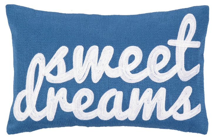 """Sweet Dreams"" 8x12 Cotton Pillow, Blue"