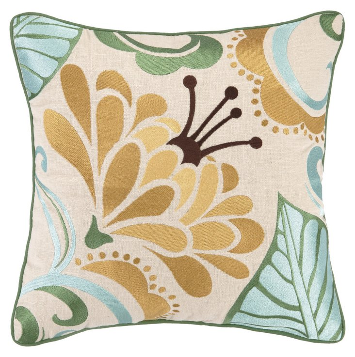 Floral 16x16 Wool Pillow, Multi