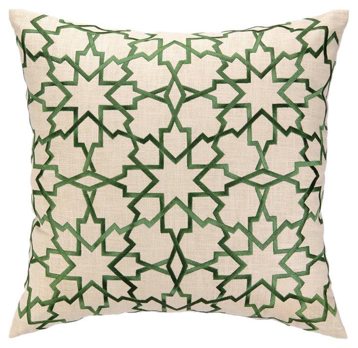 Geometric 20x20 Linen Pillow, Green