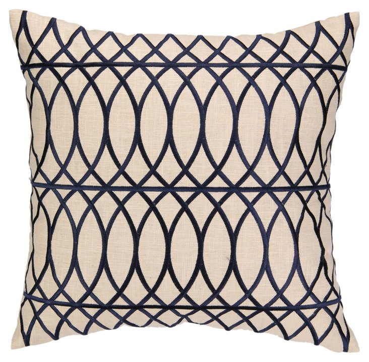 Trellis 20x20 Embroidered Pillow, Navy