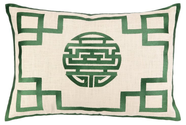 Hans 14x20 Embroidered Pillow, Green