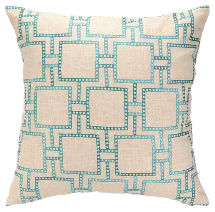 Dot 20x20 Linen Pillow, Turquoise