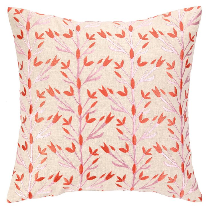 Vines 16x16 Embroidered Pillow, Coral