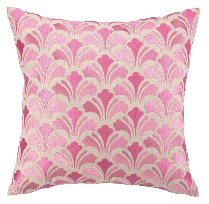 Chic 18x18 Embroidered Pillow, Pink