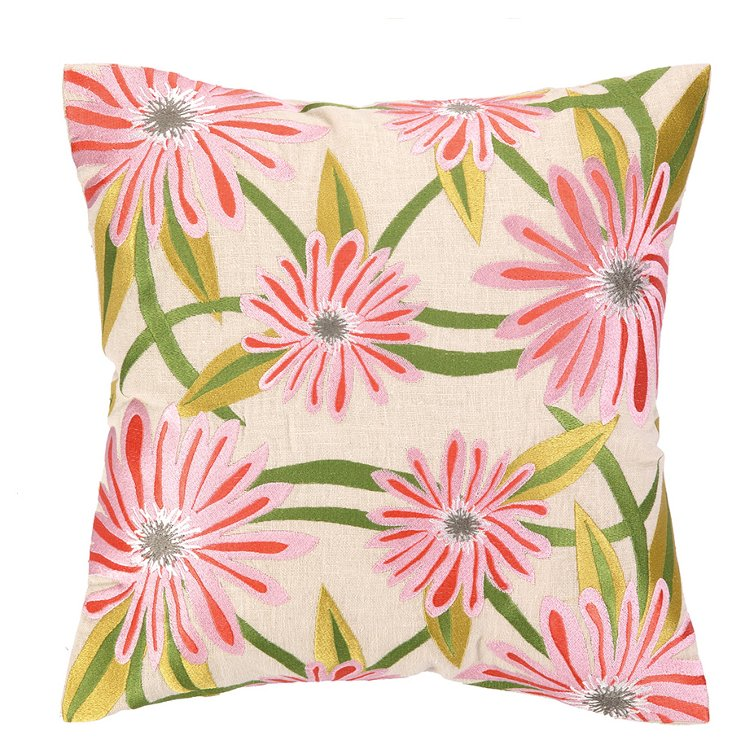Jodha 16x16 Embroidered Pillow, Pink