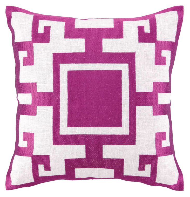 Lisa 20x20 Embroidered Pillow, Purple