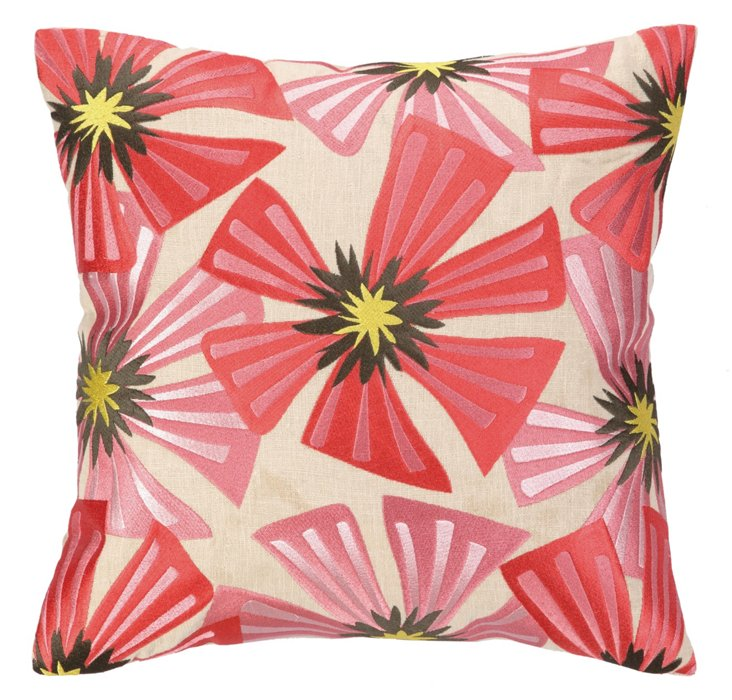 Bloom 16x16 Embroidered Pillow, Multi
