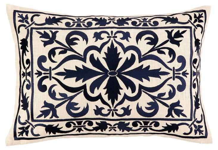 Motif 14x20 Embroidered Pillow, Navy
