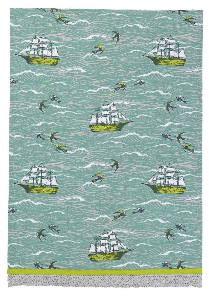 S/2 Sailing Kitchen Towels, Blue