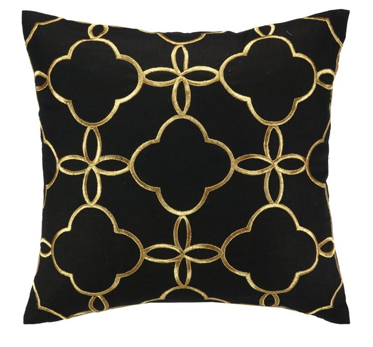 Motif 20x20 Embroidered Pillow, Black