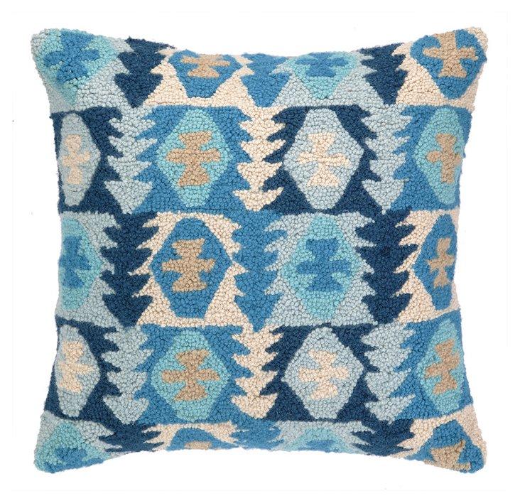 Kilim Hook 18x18 Wool Pillow, Blue