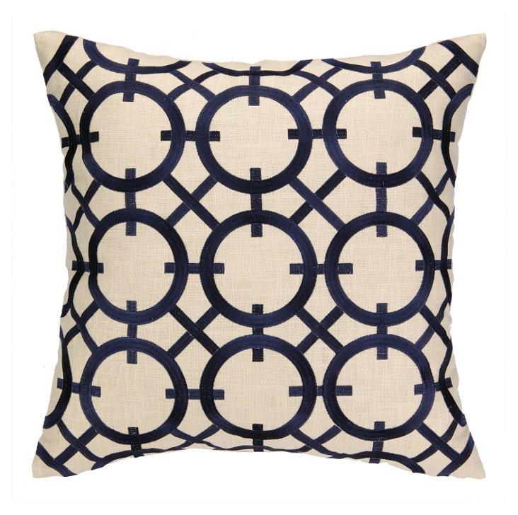 Iris 20x20 Embroidered Pillow, Navy