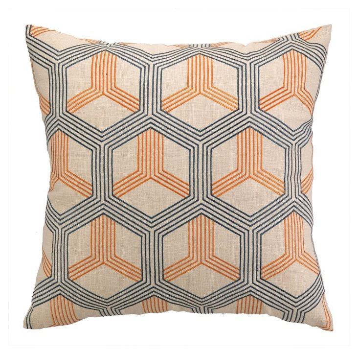Lori 20x20 Cotton Pillow, Orange
