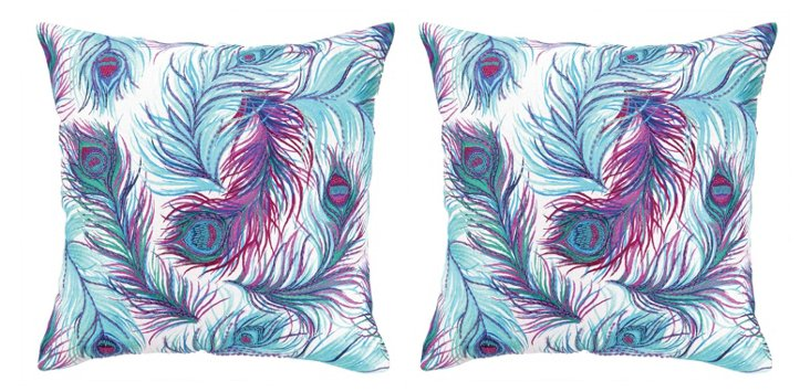S/2 Feather 20x20 Cotton Pillows, Multi