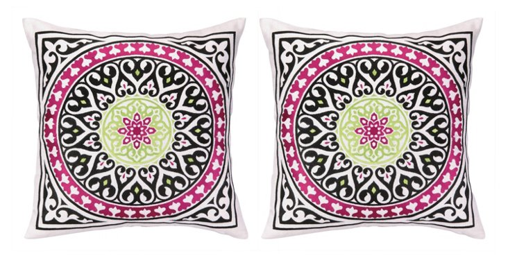 S/2 Lea 20x20 Embroidered Pillows, Multi