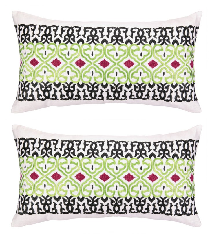 S/2 Ava 14x26 Embroidered Pillows, Multi
