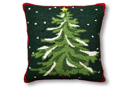 Christmas Tree 18x18 Wool Pillow