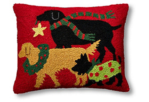 Holiday Pups 16x20 Wool Pillow*
