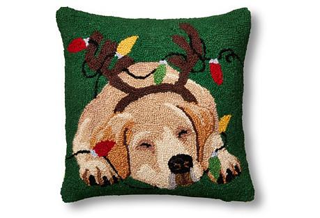 Reindeer Dog 16x16 Wool Pillow