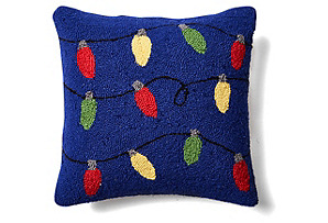 Multi Lights 16x16 Wool Pillow, Blue*