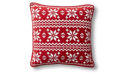 Fair Isle 18x18 Velvet Pillow, Red