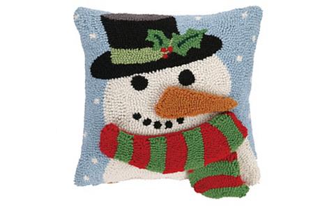 3D Snowman 14x14 Hook Pillow