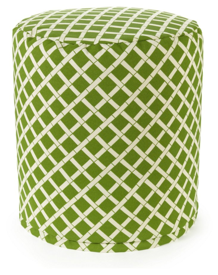 Bamboo Outdoor Round Pouf, Sage