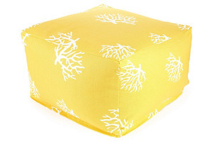Yellow Coral Outdoor Poufs, Large