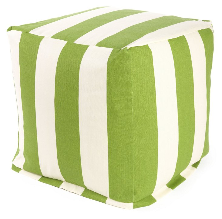 Striped Outdoor Cube, Sage