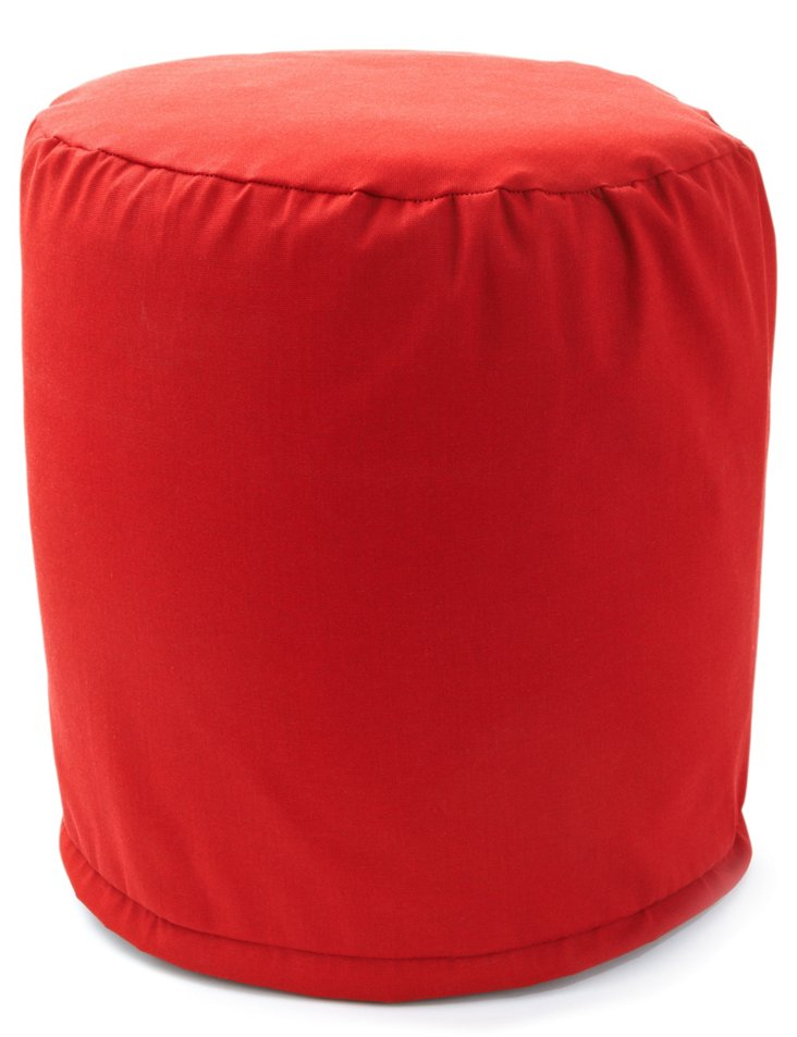 Outdoor Round Pouf, Red