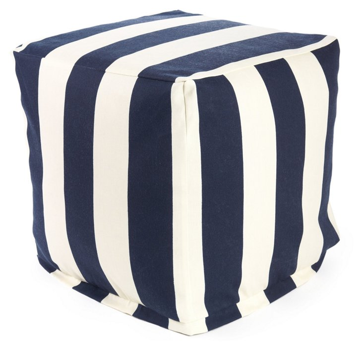 Stripes Outdoor Cube, Navy