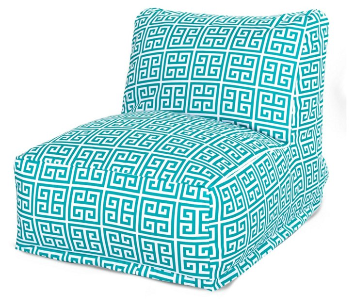 Greek Key Outdoor Lounger, Turquoise