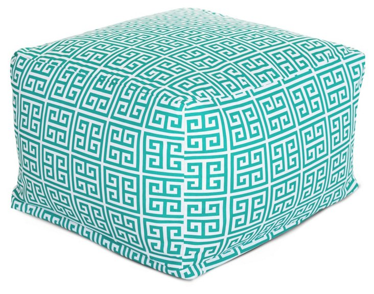 Turquoise Greek Key Outdoor Pouf, Large
