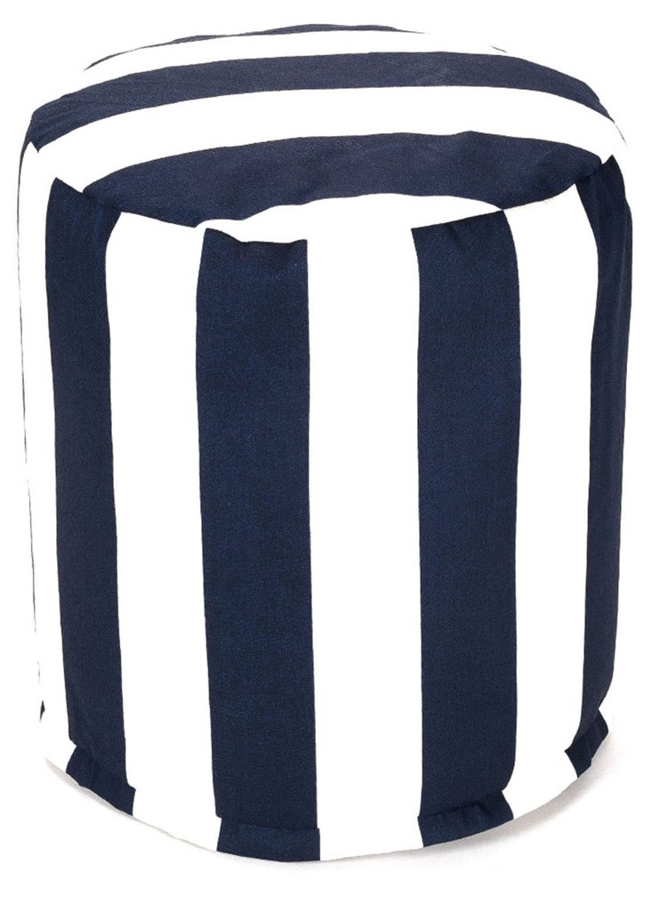 Striped Outdoor Round Pouf, Navy