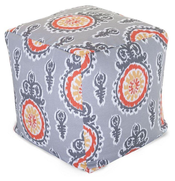 Ikat Outdoor Cube, Light Gray