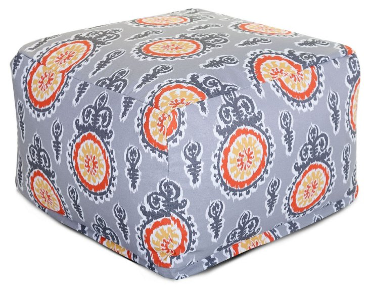 Ikat Outdoor Ottoman, Light Gray