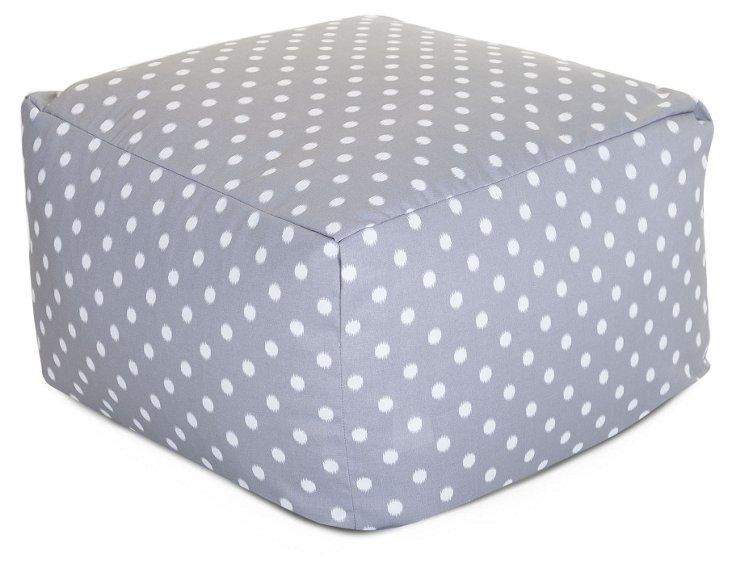 Polka Dot Outdoor Ottoman, Gray