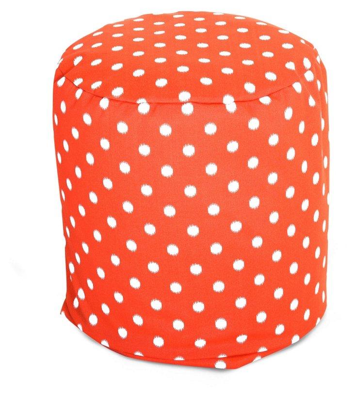 Polka Dot Outdoor Round Pouf, Orange