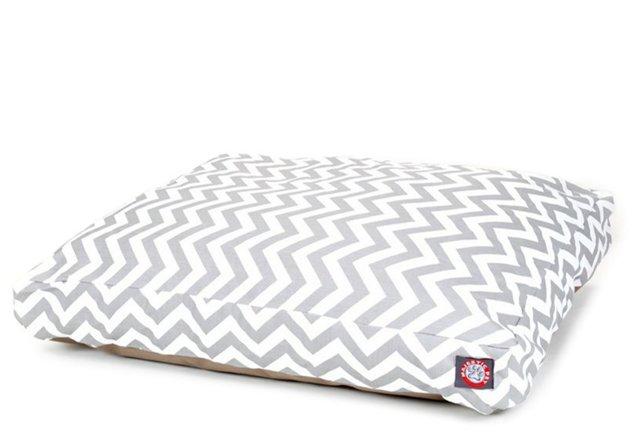 Chevron Rectangle Pet Bed, Gray/White