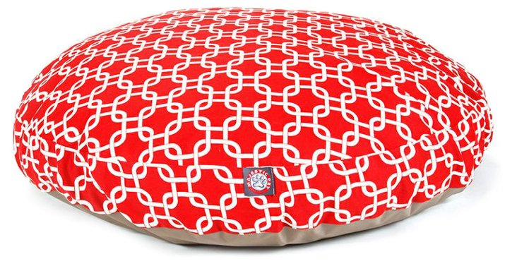 Links Round Pet Bed, Red